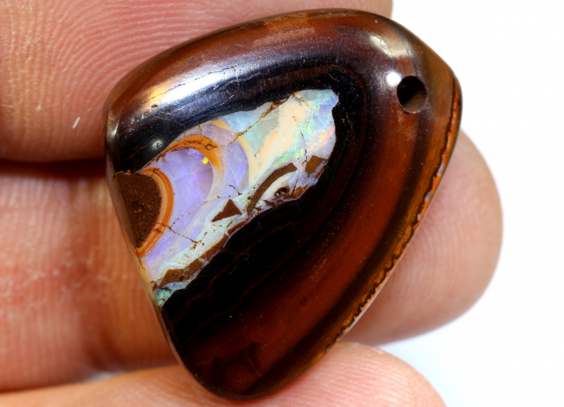 38.30 CTS YOWAH OPAL POLISHED STONE DRILLED  NC-6740