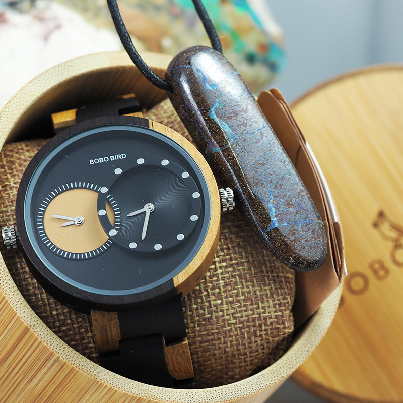 Wooden Watch & Opal Necklace - Multiple Time Zone - Black & Yellow - W007