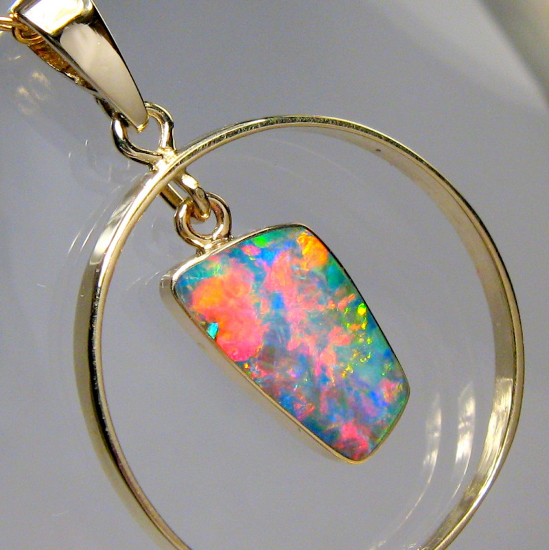 Rare Australian Opal Pendant 14k Gold Genuine Natural Jewelry 8.5ct Gift B9