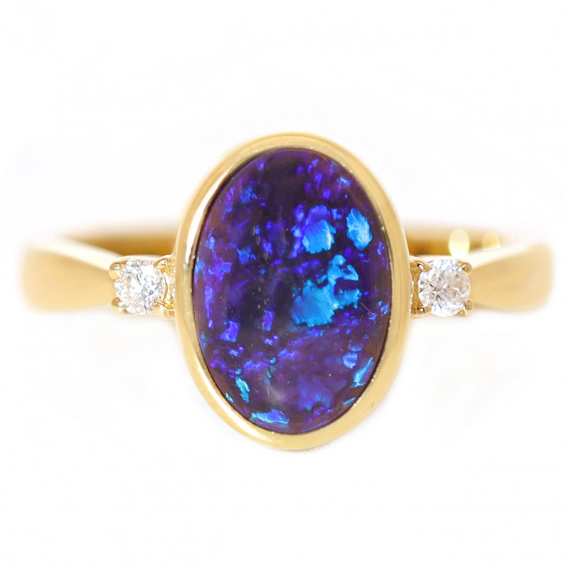 14K GOLD BLACK OPAL RING GOLD AND DIAMONDS [CR61]