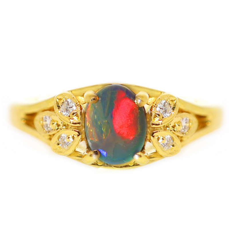 18K GOLD BLACK OPAL RING GOLD AND DIAMONDS [CR66]
