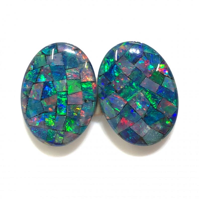 Gem  Pair Australian Triplet Mosaic Opals  OPJ 2544