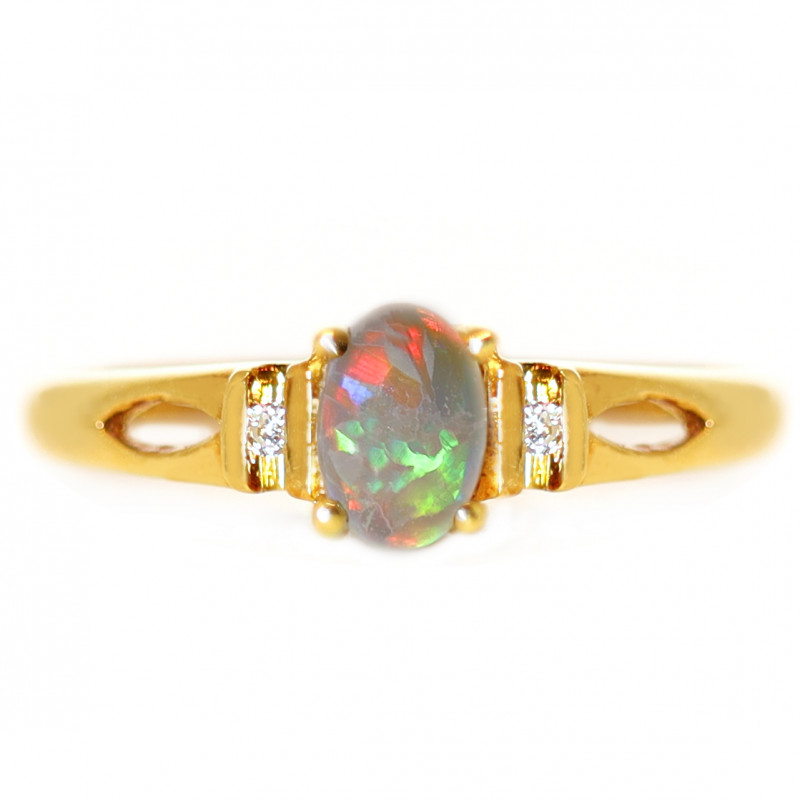18K GOLD BLACK OPAL RING GOLD AND DIAMONDS [CR67]