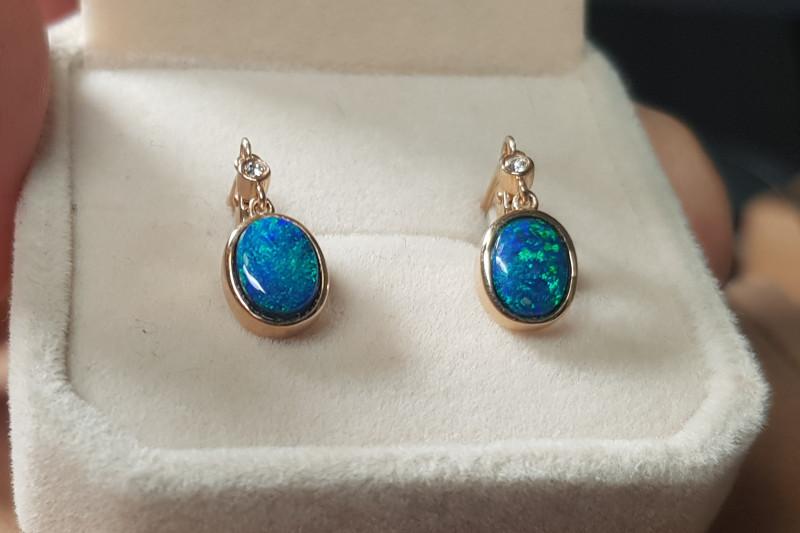 Australian Opal Doublet Earrings 14K Gold