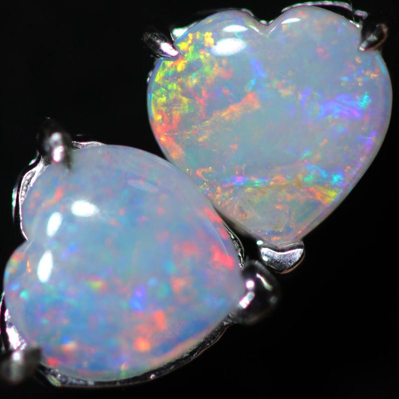 CRYSTAL OPAL HEART  EARRINGS IN 10 K GOLD [SOJ6747]+SJ