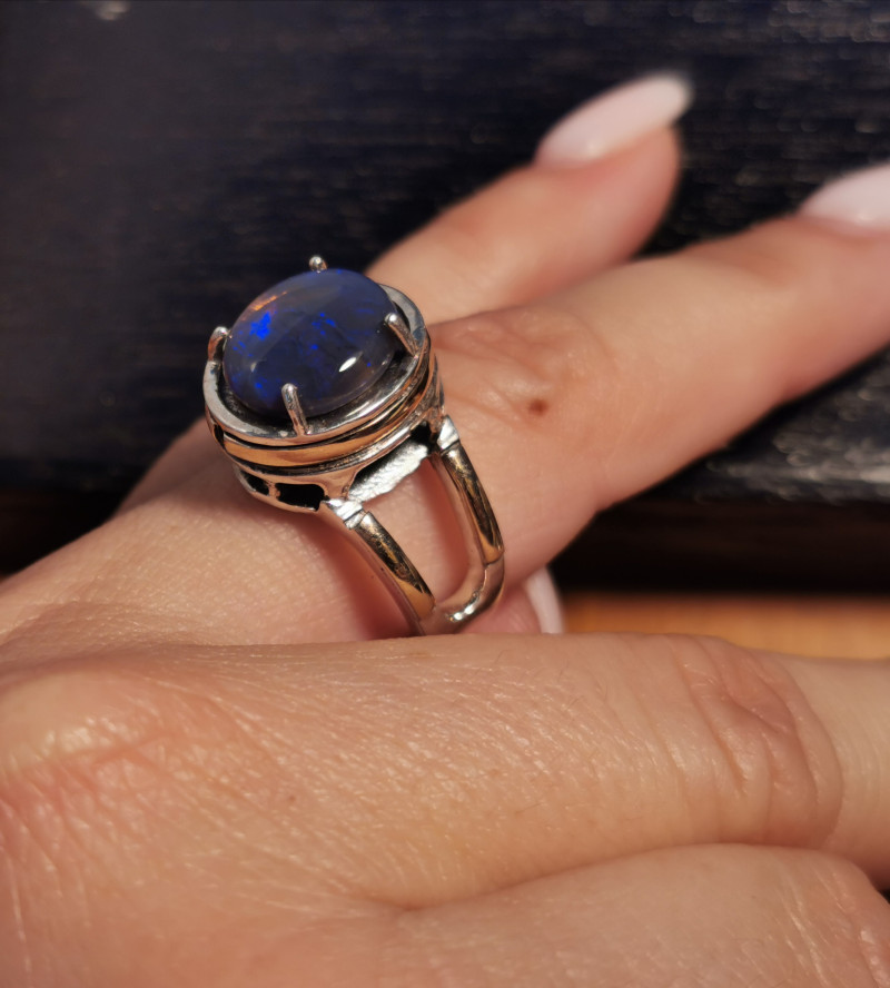 Opal Silver Ring with 9K sheet of Gold