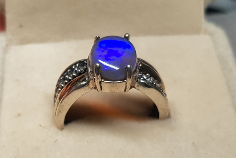 Crystal Opal Silver Ring with 9K Sheet of Gold