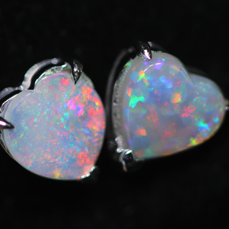 CRYSTAL OPAL HEART  EARRINGS IN 10 K GOLD [SOJ6755]+SJ