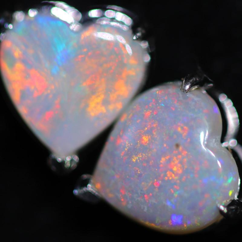 CRYSTAL OPAL HEART  EARRINGS IN 10 K GOLD [SOJ6757]+SJ