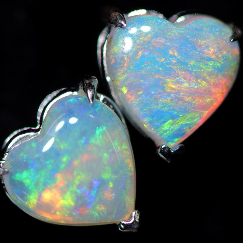 CRYSTAL OPAL HEART  EARRINGS IN 10 K GOLD [SOJ6764]+SJ
