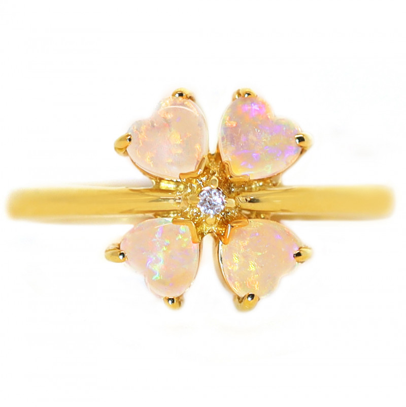 18K GOLD COOBER PEDY OPAL RING WITH DIAMOND[CR69]