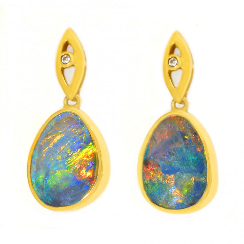 14K GOLD Opal Doublet LIGHTNING RIDGE PIERCE EARRINGS & DIAMONDS [CE11]
