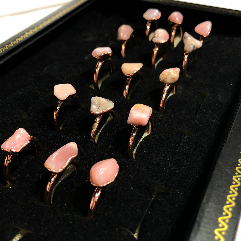 Pink Peru Opal in Electroformed Copper rings 15 pcs BR2256