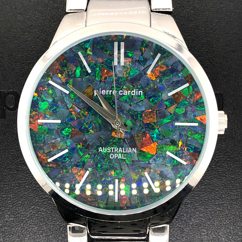 Original Mens Silver Opal Watch Mosiac Opal - WO 15