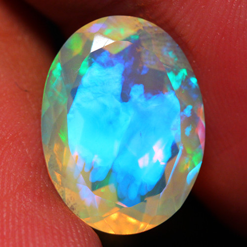 4.30 CT Electric Blue!! AAA Quality Faceted Cut Ethiopian Opal -DF223