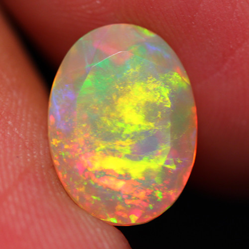 3.06 CT 12X9 MM Multi Fire!! AAA Quality Faceted Cut Ethiopian Opal -DF231