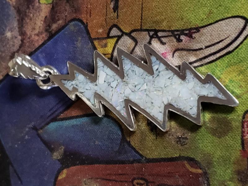 Australian crushed opal Deadhead silver Pendant