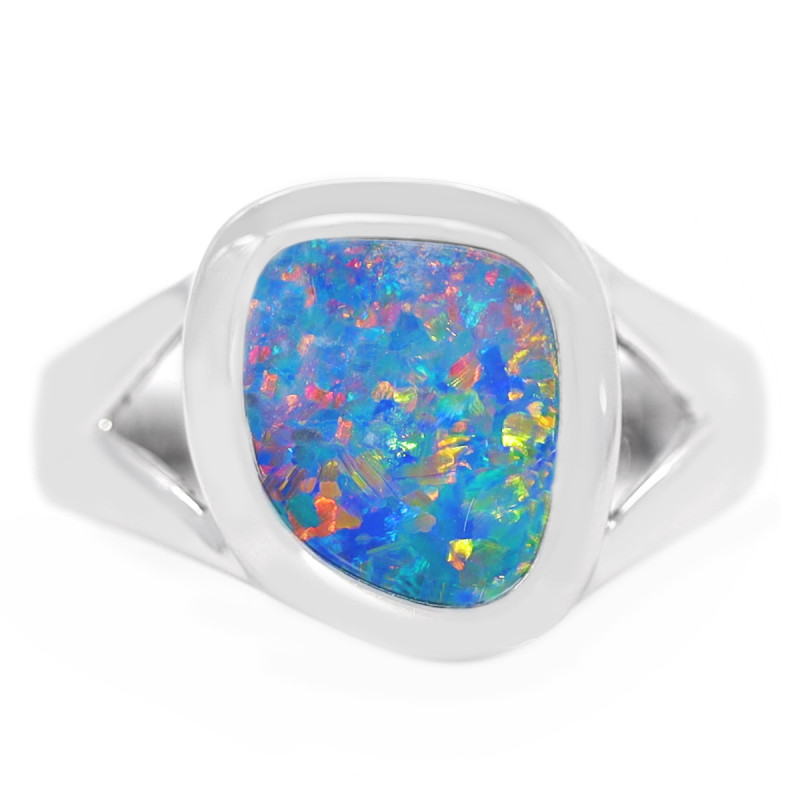 925 ST/ SILVER RHODIUM PLATED DOUBLET OPAL RING [CR73]