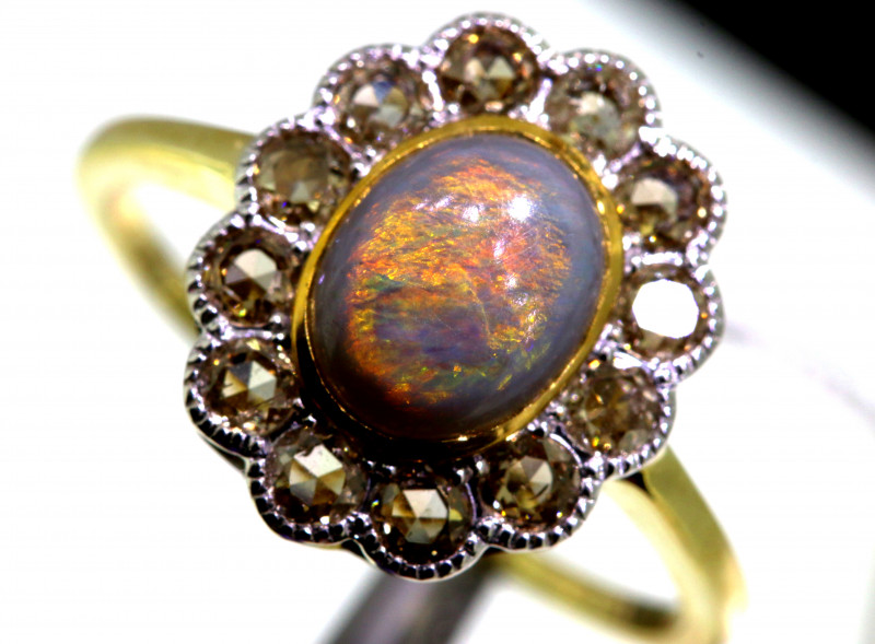 12.25CTS SOLID OPAL DIAMOND 14K GOLD ART DECO RING OF-1923
