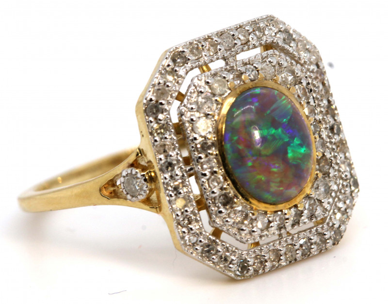 14.60CTS SOLID OPAL DIAMOND 14K GOLD ART DECO RING OF-1924