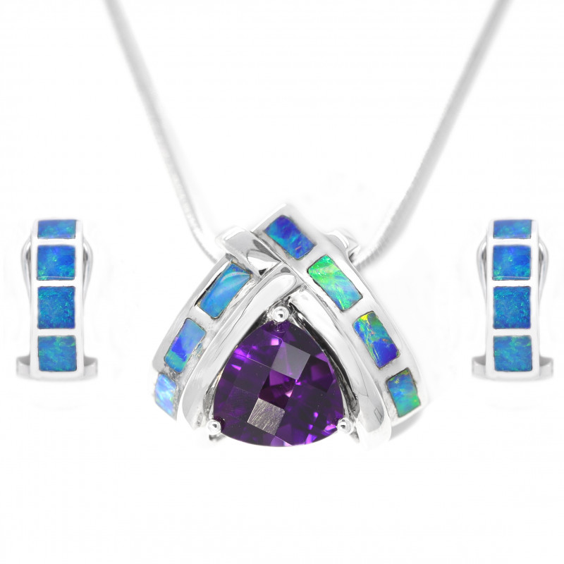 925 ST/ SILVER RHODIUM PLATED INALY OPAL WITH AMETHYST JEWELRY SET [CSET03]