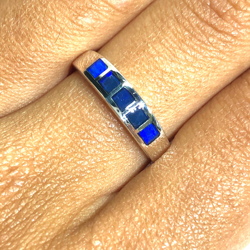BLUE FIRE INLAY OPAL SILVER RING SIZE 7½ L3092