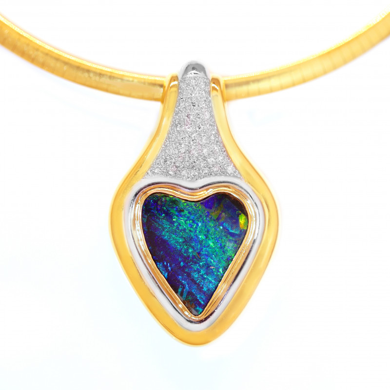 18K GOLD& PLATINUM BOULDER OPAL PENDANT WITH DIAMONDS [CP102]
