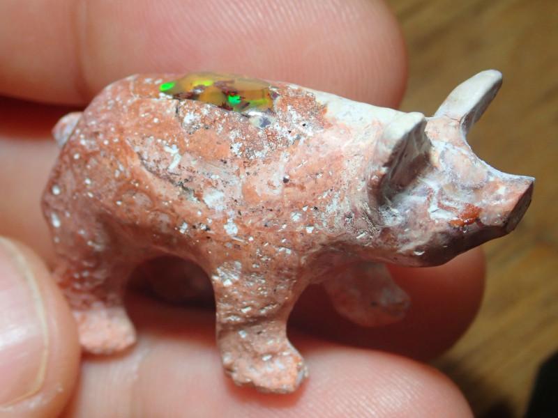 Pig Figurine Mexican Matrix Cantera Multicoloured Fire Opal