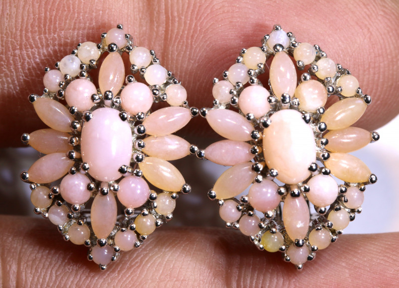 39.20  CTS PERU PINK OPAL EARRING CLUSTER-SILVER    0F-192