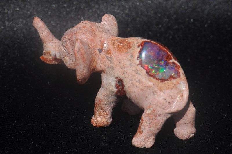 150ct. Elephant Carving Mexican Matrix Multicoloured Fire Opal