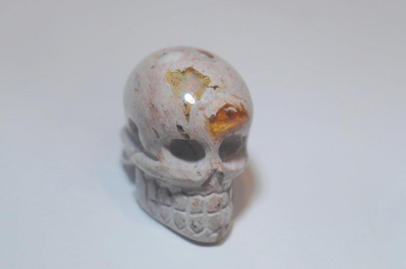 30.11ct Skull Mexican Matrix Fire Opal Pendant