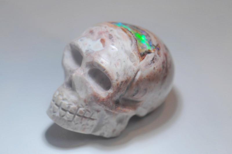 150ct Skull Mexican Matrix Fire Opal Pendant