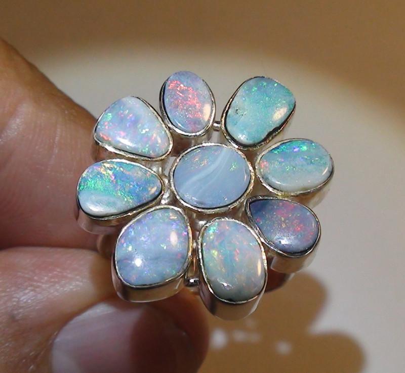 38.00 ct Beautiful 925 Silver Doublet Opal Flower Ring