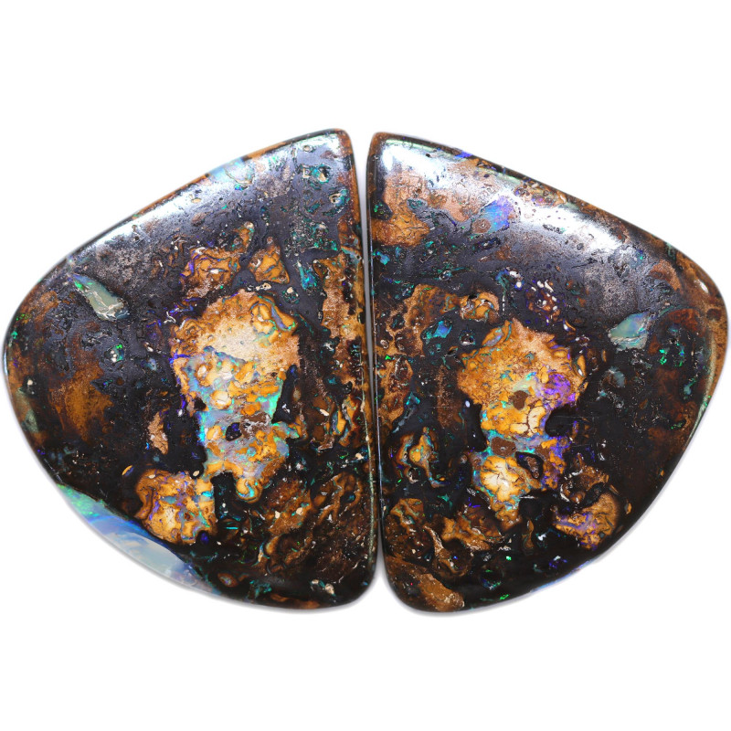 128.35 CTS WELL POLISHED PAIR BOULDER STONES [BMA9081]