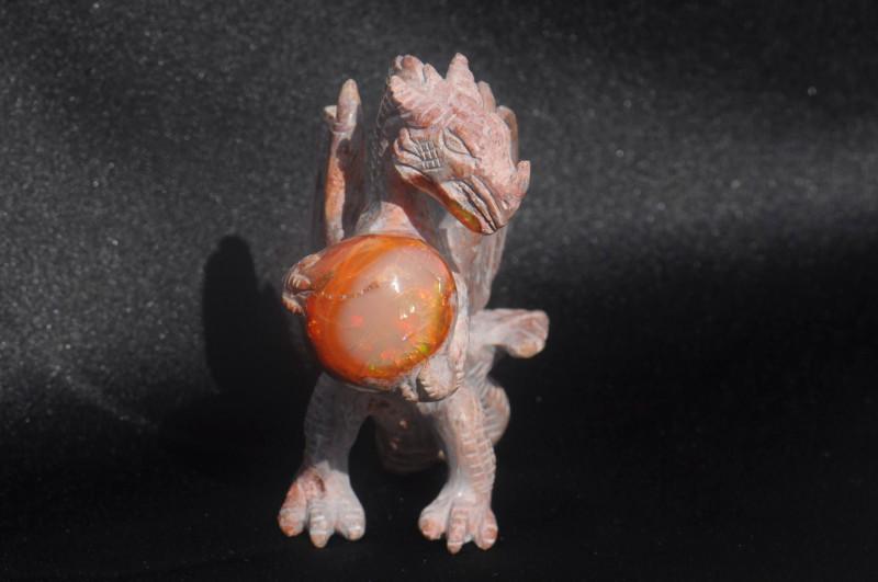 Dragon Mexican Matrix Fire Opal Figurine