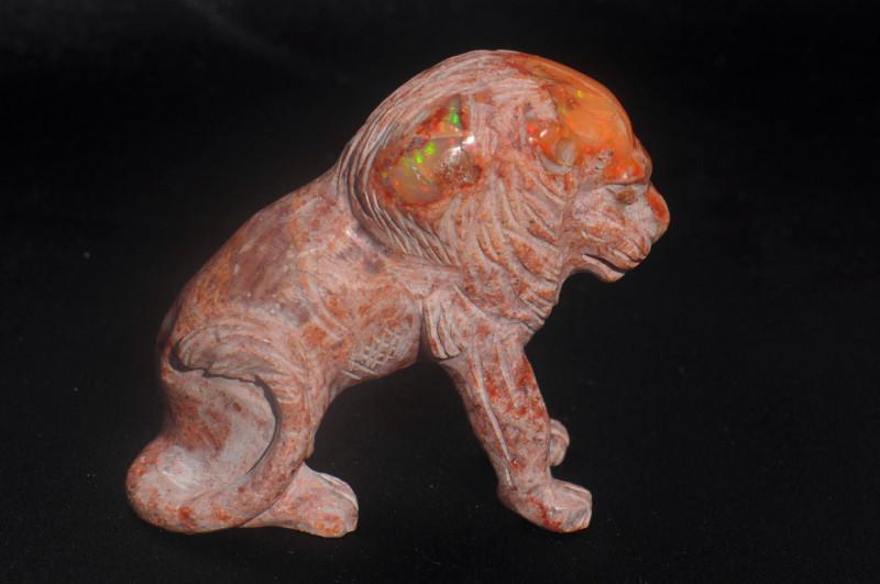 Lion Mexican Matrix Fire Opal Figurine