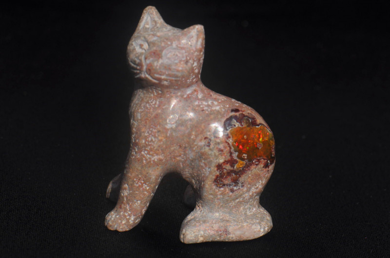 Cat Mexican Matrix Fire Opal Figurine