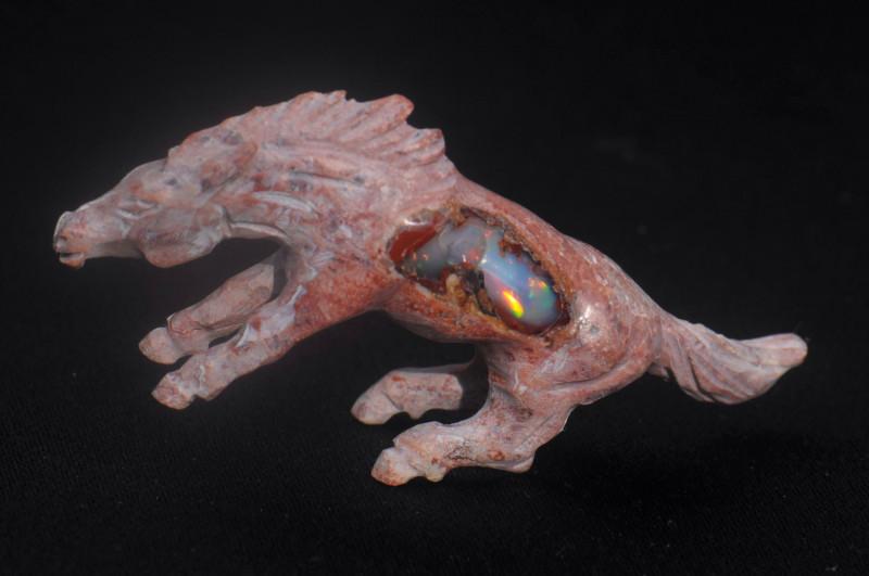 Horse Mexican Matrix Fire Opal Figurine