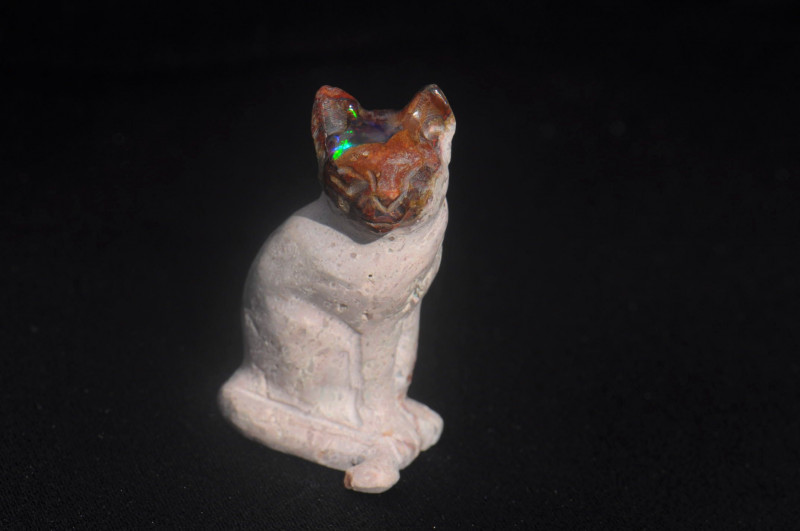 Cat Mexican Matrix Fire Opal Figurine