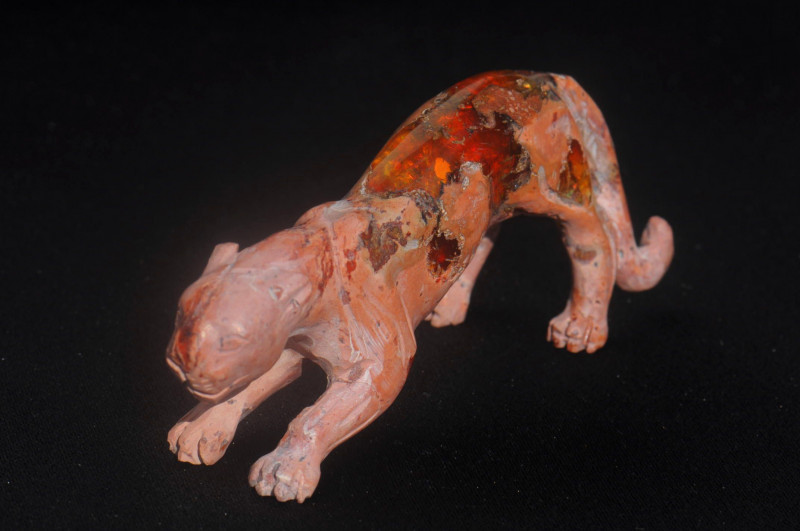 Jaguar Mexican Matrix Fire Opal Figurine