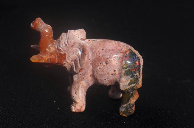 Elephant Mexican Matrix Fire Opal Figurine