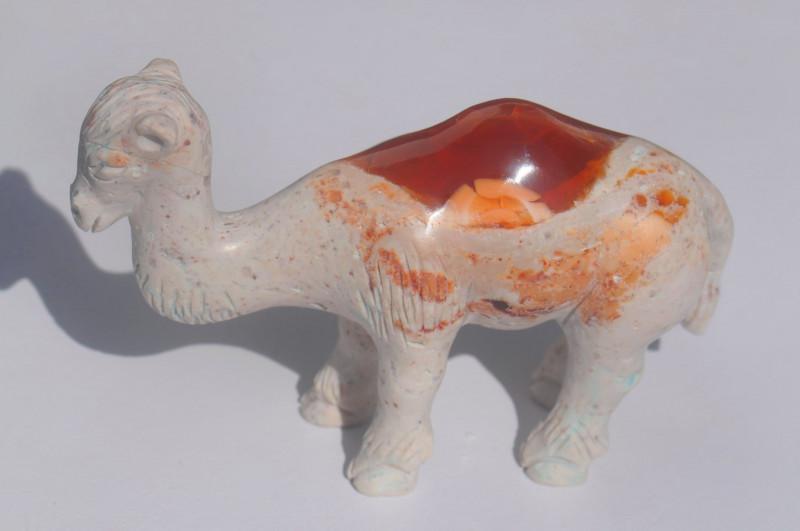 Camel Mexican Matrix Fire Opal Figurine