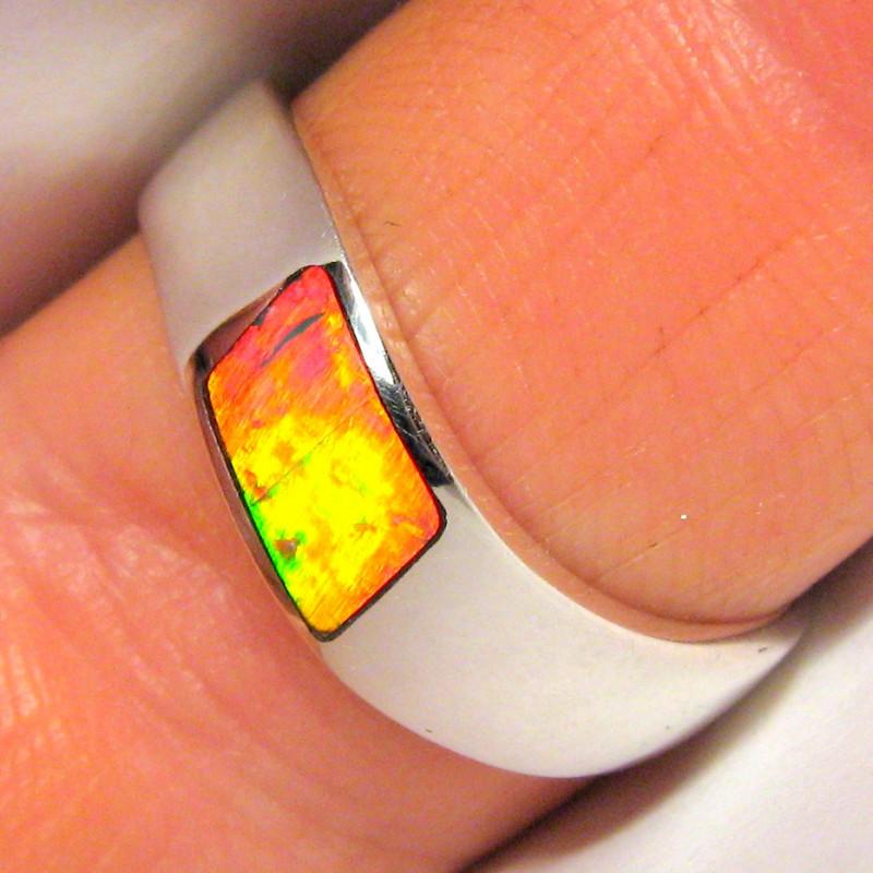 Australian Opal Ring Silver Inlay Faulty Stock Bargain! 3.2g Sz 8