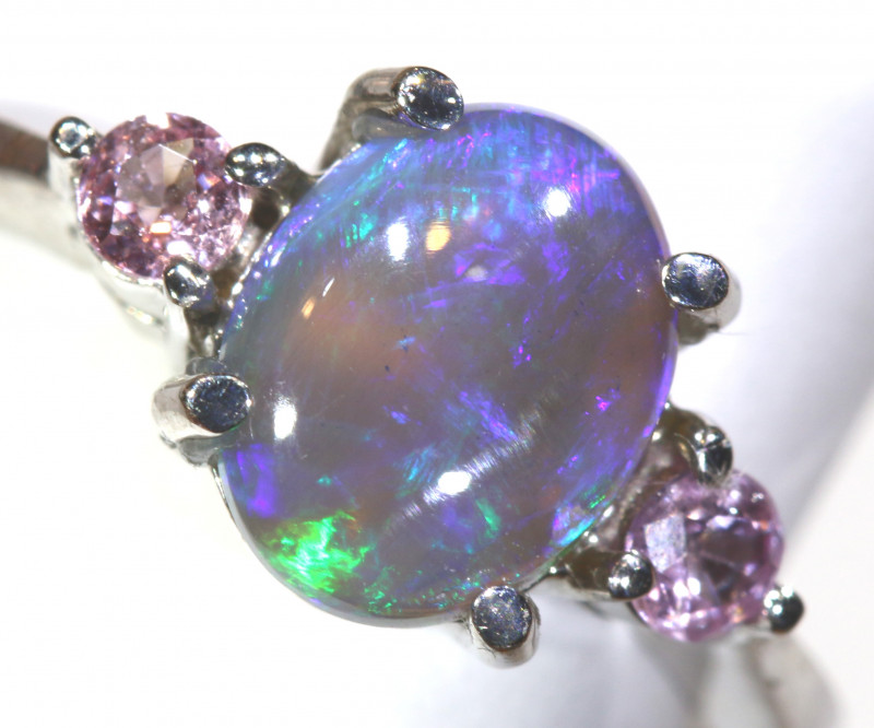 14.64 CTS  DARK OPAL AND SAPPHIRE SILVER RING  OF-2628