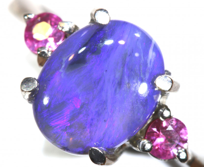 15.30 CTS  DARK OPAL AND SAPPHIRE SILVER RING  OF-2634