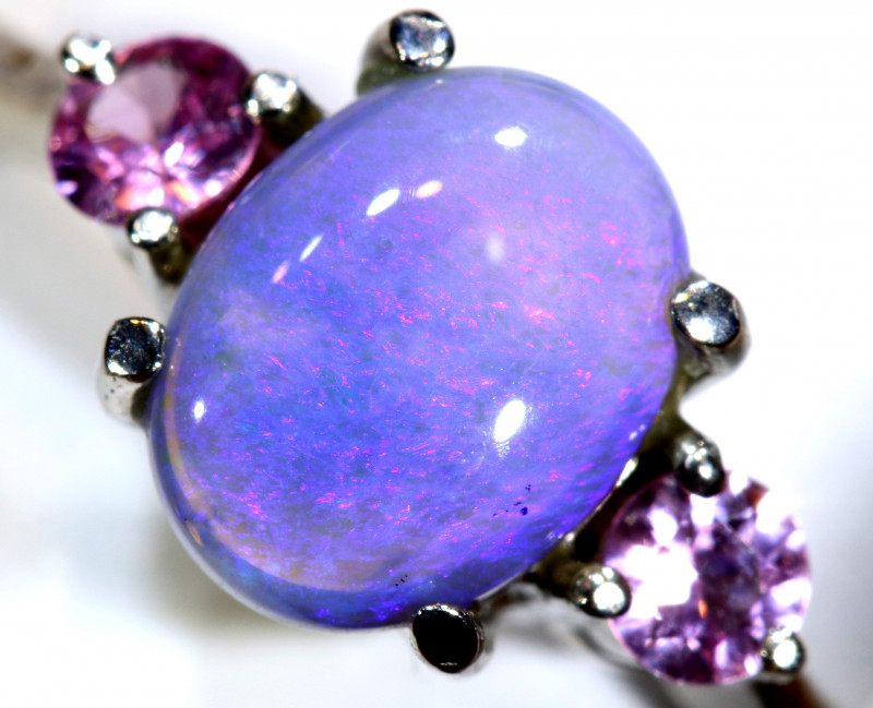 15.1 CTS  DARK OPAL AND SAPPHIRE SILVER RING  OF-2637