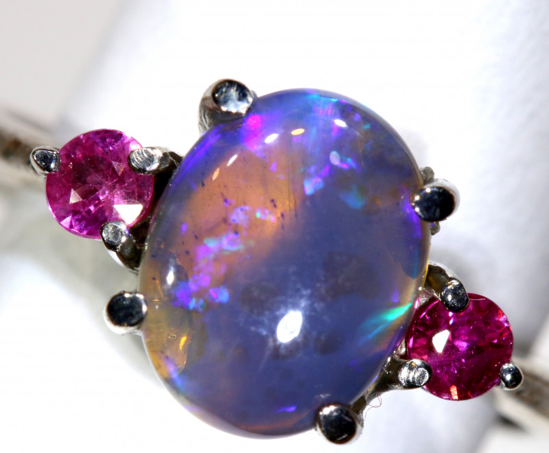 15.2 CTS  DARK OPAL AND SAPPHIRE SILVER RING  OF-2638