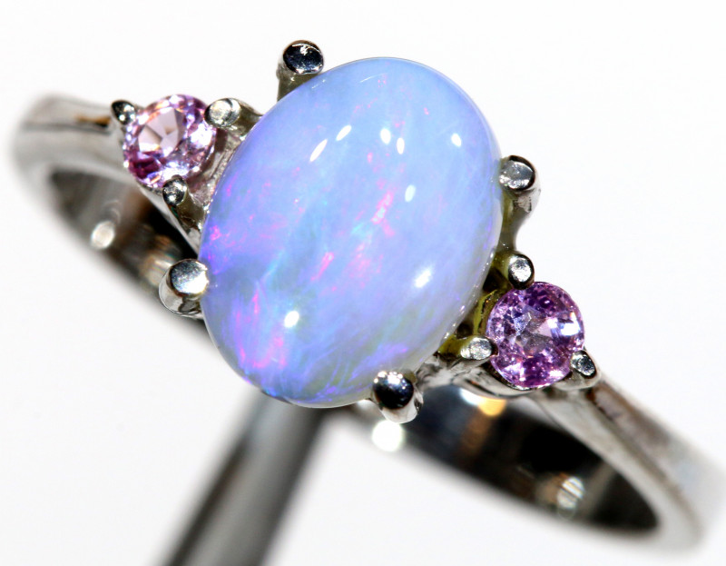 15.61 CTS  DARK OPAL AND SAPPHIRE SILVER RING  OF-2643