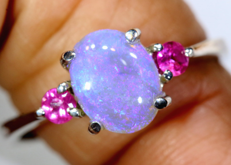 15.20 CTS  DARK OPAL AND SAPPHIRE SILVER RING  OF-2646