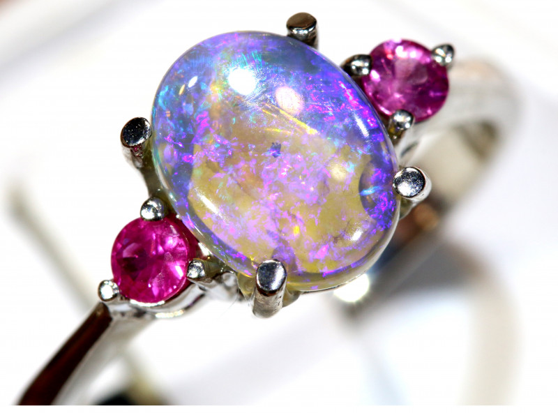 15.71 CTS  DARK OPAL AND SAPPHIRE SILVER RING  OF-2649